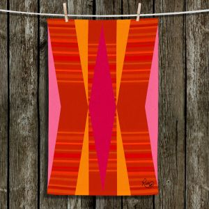 Unique Bathroom Towels | Ruth Palmer - Orange Pink and Yellow VI | Pattern minimalist stripe