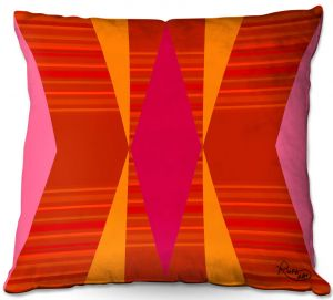 Throw Pillows Decorative Artistic | Ruth Palmer - Orange Pink and Yellow VI | Pattern minimalist stripe