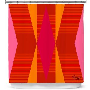 Premium Shower Curtains | Ruth Palmer - Orange Pink and Yellow VI | Pattern minimalist stripe