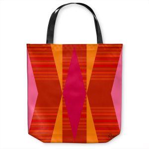 Unique Shoulder Bag Tote Bags | Ruth Palmer - Orange Pink and Yellow VI | Pattern minimalist stripe