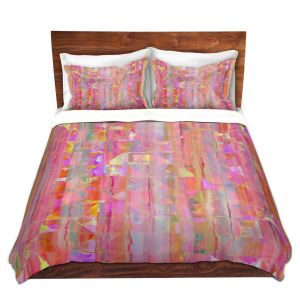 Artistic Duvet Covers and Shams Bedding | Ruth Palmer - Peeking Pink | Lines abstract pattern shapes squares checkers