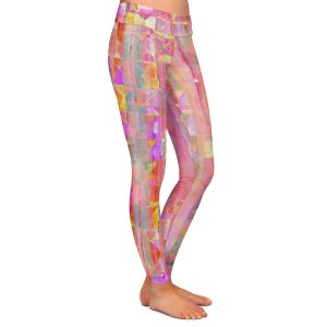 Casual Comfortable Leggings | Ruth Palmer - Peeking Pink | Lines abstract pattern shapes squares checkers