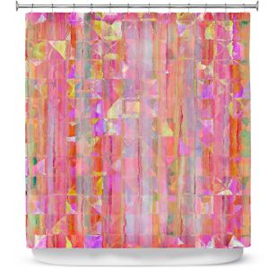 Premium Shower Curtains | Ruth Palmer - Peeking Pink | Lines abstract pattern shapes squares checkers