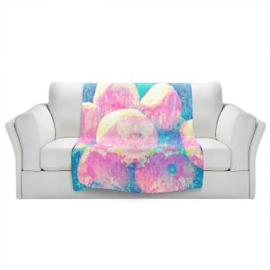 Artistic Sherpa Pile Blankets | Ruth Palmer - Pink Oranges Splash | Geometric Abstract
