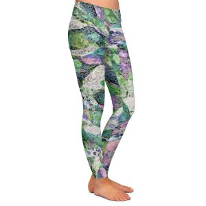 Casual Comfortable Leggings | Ruth Palmer - Purple Speckled Flowers | Floral patterns cool colors petals leaves