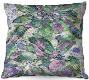 Throw Pillows Decorative Artistic | Ruth Palmer - Purple Speckled Flowers | Floral patterns cool colors petals leaves