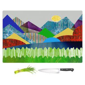 Artistic Kitchen Bar Cutting Boards | Ruth Palmer - Serene Lake | Landscape Sun Mountains Lakes Forest