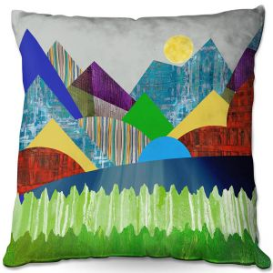 Decorative Outdoor Patio Pillow Cushion | Ruth Palmer - Serene Lake | Landscape Sun Mountains Lakes Forest