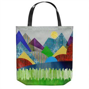 Unique Shoulder Bag Tote Bags | Ruth Palmer - Serene Lake | Landscape Sun Mountains Lakes Forest