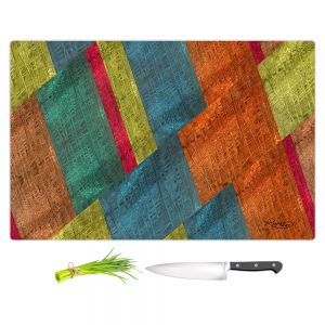 Artistic Kitchen Bar Cutting Boards | Ruth Palmer - Sheared Grid | Abstract stripes geometric rocks