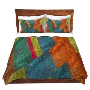 Artistic Duvet Covers and Shams Bedding | Ruth Palmer - Sheared Grid | Abstract stripes geometric rocks