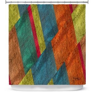 Premium Shower Curtains | Ruth Palmer - Sheared Grid | Abstract stripes geometric rocks