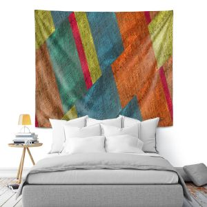 Artistic Wall Tapestry | Ruth Palmer - Sheared Grid | Abstract stripes geometric rocks