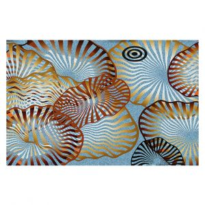 Decorative Floor Covering Mats | Ruth Palmer - Swirling Blue | Circles shapes abstract ocean water