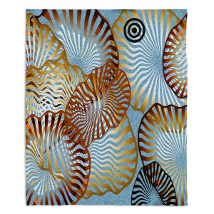 Decorative Fleece Throw Blankets | Ruth Palmer - Swirling Blue | Circles shapes abstract ocean water