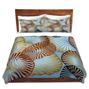 Artistic Duvet Covers and Shams Bedding | Ruth Palmer - Swirling Blue | Circles shapes abstract ocean water