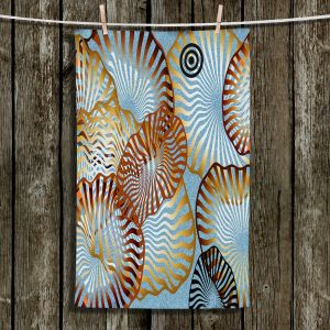Unique Hanging Tea Towels | Ruth Palmer - Swirling Blue | Circles shapes abstract ocean water