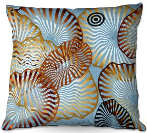 Decorative Outdoor Patio Pillow Cushion | Ruth Palmer - Swirling Blue | Circles shapes abstract ocean water
