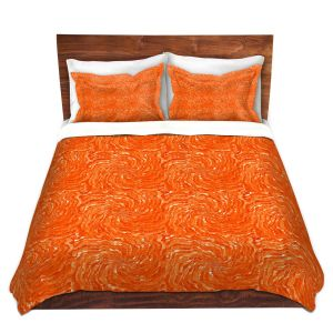 Artistic Duvet Covers and Shams Bedding   Ruth Palmer - Swirling Orange Squares   Circles shapes repetition pattern