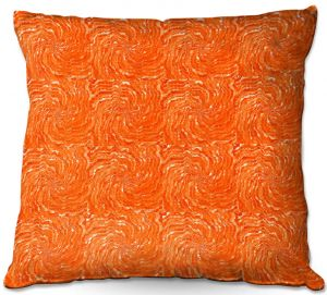 Decorative Outdoor Patio Pillow Cushion | Ruth Palmer - Swirling Orange Squares | Circles shapes repetition pattern