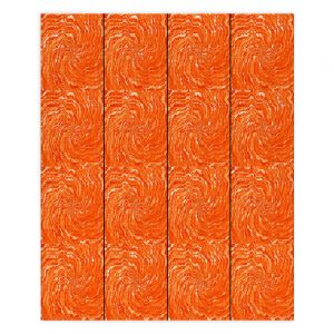 Decorative Wood Plank Wall Art   Ruth Palmer - Swirling Orange Squares   Circles shapes repetition pattern
