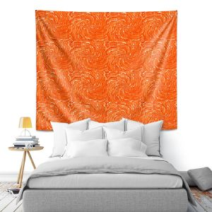 Artistic Wall Tapestry   Ruth Palmer - Swirling Orange Squares   Circles shapes repetition pattern