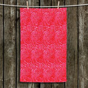 Unique Hanging Tea Towels | Ruth Palmer - Swirling Pink Squares | Circles shapes repetition pattern
