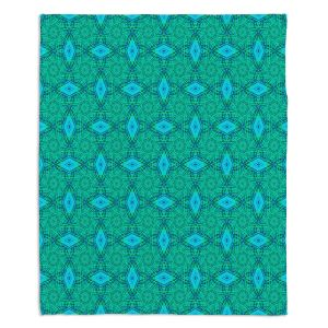 Decorative Fleece Throw Blankets | Ruth Palmer - Teal Diamonds | Shapes pattern repetition