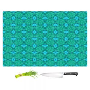 Artistic Kitchen Bar Cutting Boards | Ruth Palmer - Teal Diamonds | Shapes pattern repetition