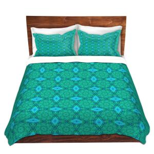 Artistic Duvet Covers and Shams Bedding | Ruth Palmer - Teal Diamonds | Shapes pattern repetition