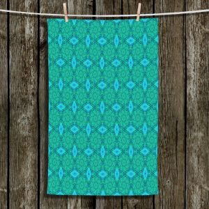 Unique Hanging Tea Towels | Ruth Palmer - Teal Diamonds | Shapes pattern repetition