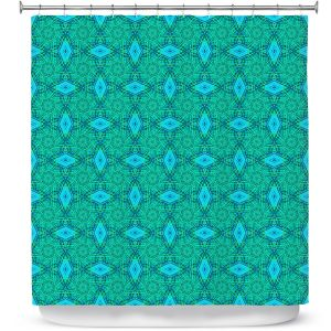 Premium Shower Curtains | Ruth Palmer - Teal Diamonds | Shapes pattern repetition