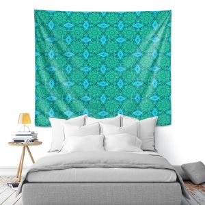 Artistic Wall Tapestry | Ruth Palmer - Teal Diamonds | Shapes pattern repetition