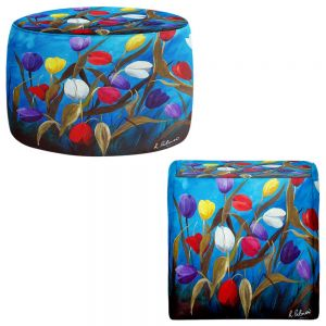 Round and Square Ottoman Foot Stools | Ruth Palmer - Tulips Galore II