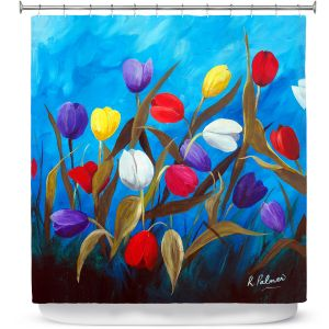 Unique Shower Curtains 71w x 74h Inches from DiaNoche Designs by Ruth Palmer - Tulips Galore ii