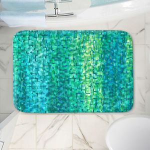 Decorative Bathroom Mats | Ruth Palmer - Turquoise Abstract | Geometric Pattern