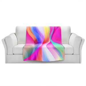 Artistic Sherpa Pile Blankets | Ruth Palmer - Veils Pink | Abstract