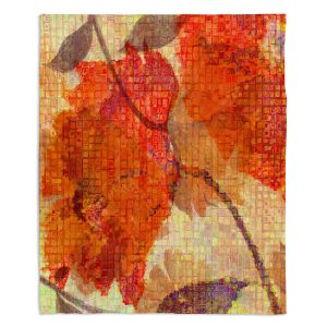 Decorative Fleece Throw Blankets | Ruth Palmer - Wallflower | Close up nature still life leaf leaves branch fall autumn pattern