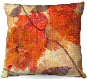 Decorative Outdoor Patio Pillow Cushion | Ruth Palmer - Wallflower | Close up nature still life leaf leaves branch fall autumn pattern