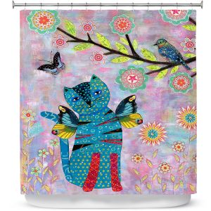 Premium Shower Curtains | Sascalia - Angel Cat | Animals Childlike Cat Birds Butterflies Flowers