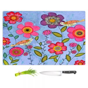 Artistic Kitchen Bar Cutting Boards | Sascalia - Bliss | Flowers Birds Nature