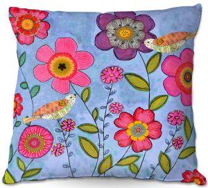 Decorative Outdoor Patio Pillow Cushion | Sascalia - Bliss | Flowers Birds Nature