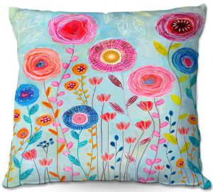 Decorative Outdoor Patio Pillow Cushion | Sascalia - Bloom | Flowers Garden Nature Boho Chic