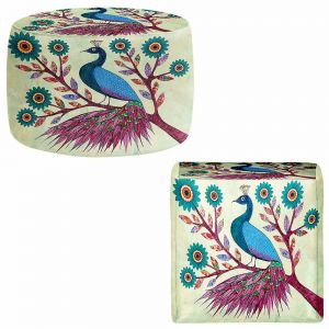 Round and Square Ottoman Foot Stools | Sascalia - Blue Peacock
