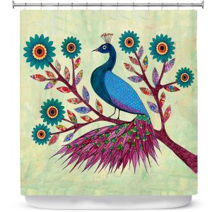 Unique Shower Curtain from DiaNoche Designs by Sascalia - Blue Peacock