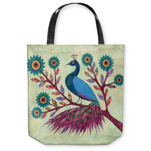Unique Shoulder Bag Tote Bags | Sascalia Blue Peacock