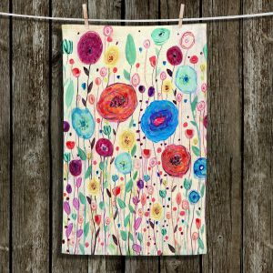 Unique Hanging Tea Towels | Sascalia - Blushing Blooms Version 3 | Flower floral pattern nature