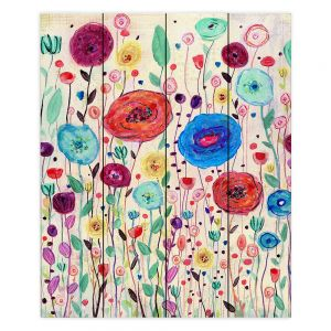 Decorative Wood Plank Wall Art | Sascalia - Blushing Blooms Version 3 | Flower floral pattern nature