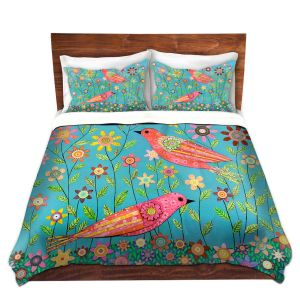 Unique Duvet Woven Twin from DiaNoche Designs by Sascalia - Bohemian Birds