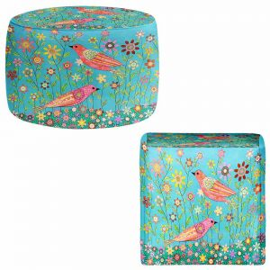 Round and Square Ottoman Foot Stools | Sascalia - Bohemian Birds